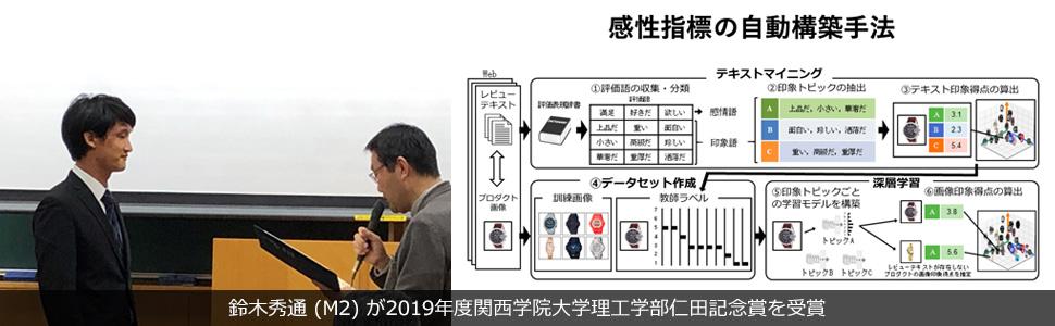 鈴木秀通 (M2) が2019年度関西学院大学理工学部仁田記念賞を受賞